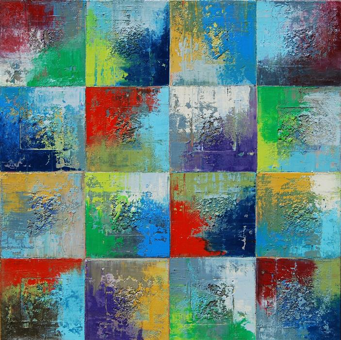 Discover Original Art by Janet Hamilton | Squares 24 oil painting | Art for Sale Online at UGallery