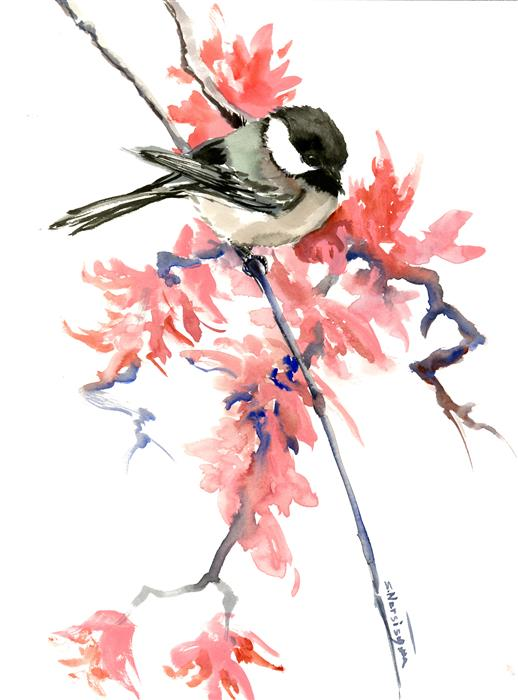 Discover Original Art by Suren Nersisyan | Chickadee and Spring Blossom watercolor painting | Art for Sale Online at UGallery