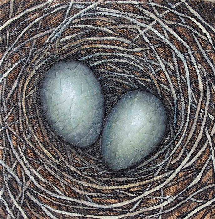 Discover Original Art by Jennifer Ross | Study for Each Must Enter the Nest mixed media artwork | Art for Sale Online at UGallery