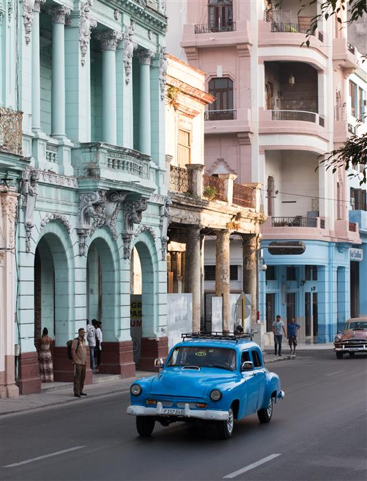 Discover Original Art by Rebecca Plotnick | Blue Car on the Streets of Havana  photography | Art for Sale Online at UGallery