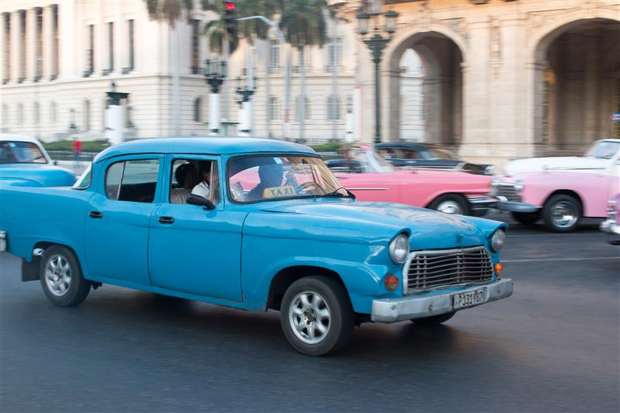 Discover Original Art by Rebecca Plotnick | Blue Taxi on the Streets of Havana  photography | Art for Sale Online at UGallery