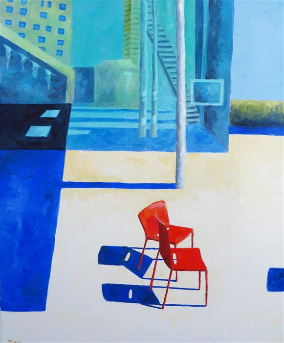Discover Original Art by Mitchell Freifeld | Two Red Chairs oil painting | Art for Sale Online at UGallery