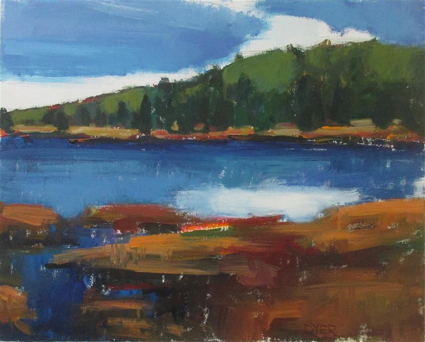 Discover Original Art by Janet Dyer | Lake with Blue Sky acrylic painting | Art for Sale Online at UGallery