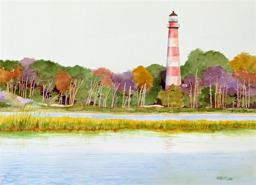 Discover Original Art by Bill Kreitlow | Before Rehab - Assateague Island Lighthouse watercolor painting | Art for Sale Online at UGallery