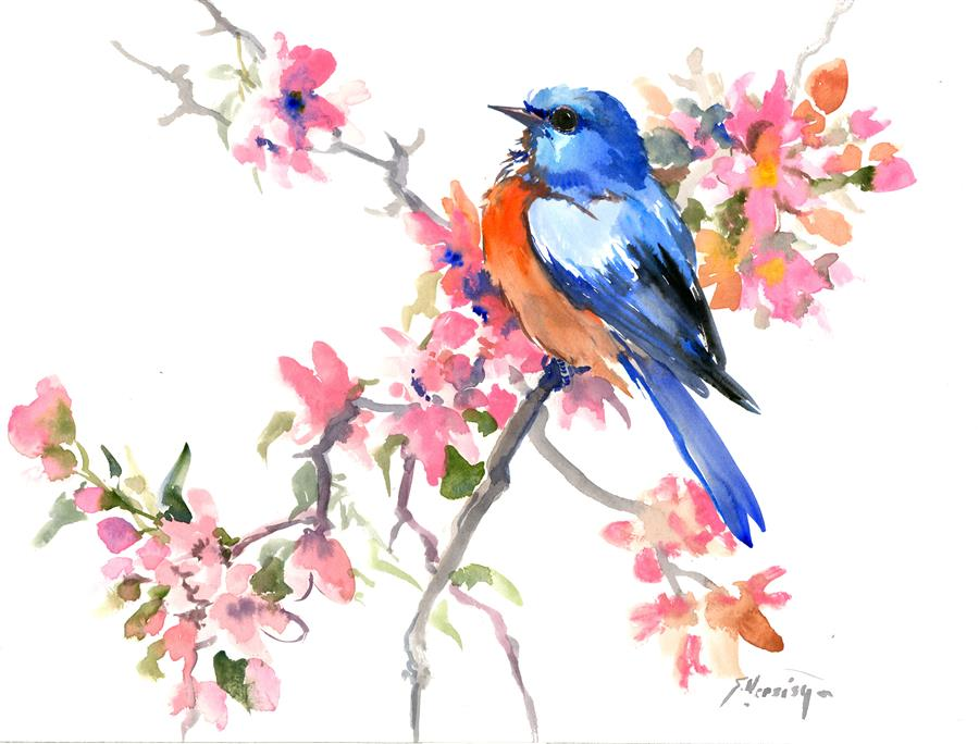 Discover Original Art by Suren Nersisyan | Spring, Bluebird and Sakura Blossom watercolor painting | Art for Sale Online at UGallery