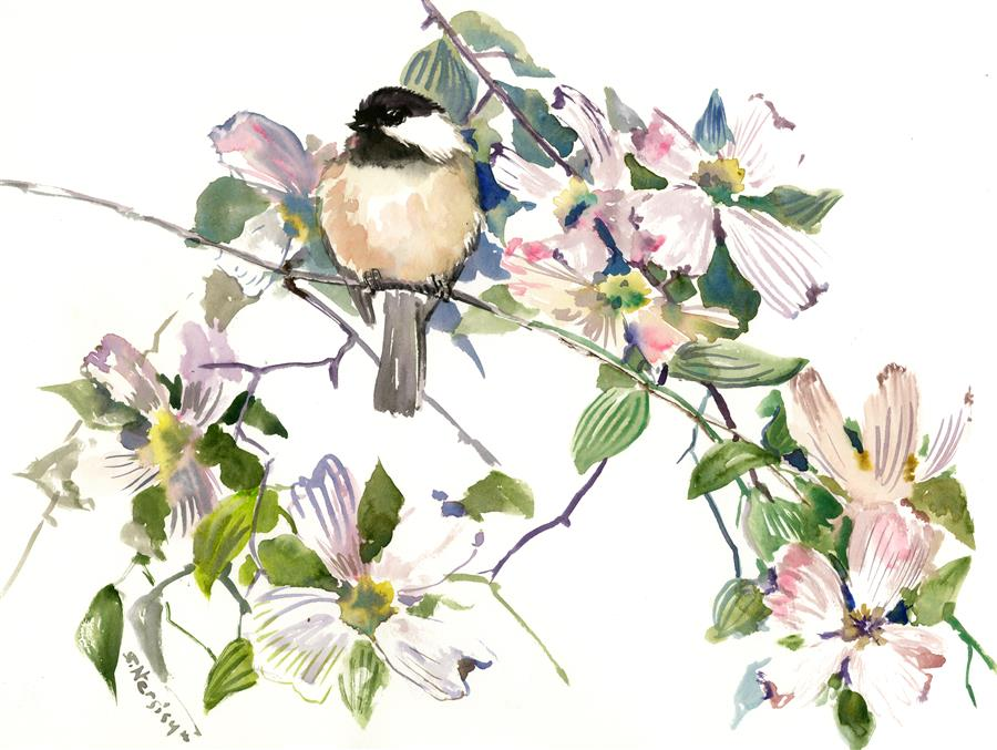 Discover Original Art by Suren Nersisyan | Enjoyment, Chickadee and Dogwood Flowers watercolor painting | Art for Sale Online at UGallery