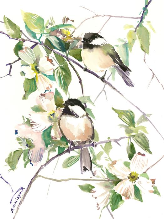 Discover Original Art by Suren Nersisyan | Song of the Spring, Chickadees and Dogwood Flowers watercolor painting | Art for Sale Online at UGallery