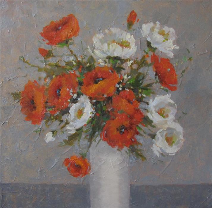 Discover Original Art by Tricia May | Sunlit Poppies oil painting | Art for Sale Online at UGallery