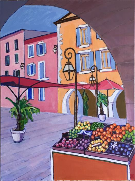Discover Original Art by Laura (Yi Zhen) Chen | Fruits Stand under the Arch acrylic painting | Art for Sale Online at UGallery