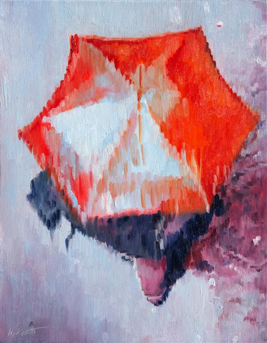 Discover Original Art by Warren Keating | Red Umbrella in Paris Rain oil painting | Art for Sale Online at UGallery