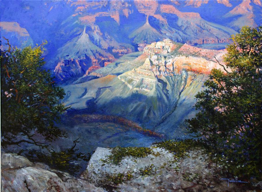 Discover Original Art by Kent Sullivan | Grand Canyon Evening oil painting | Art for Sale Online at UGallery