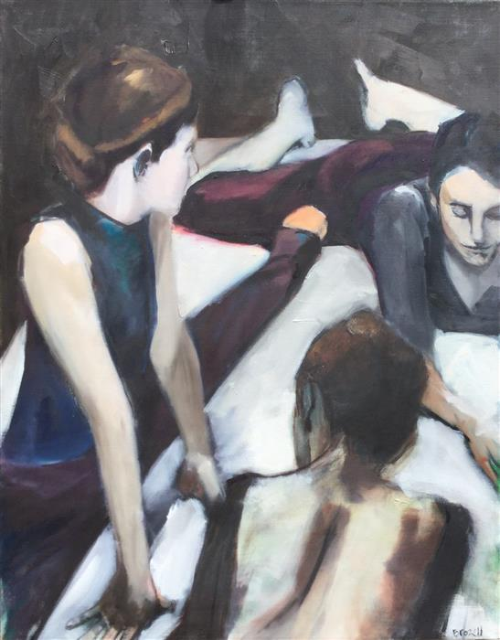 Discover Original Art by Liz Brozell | Dancers Stretching oil painting | Art for Sale Online at UGallery