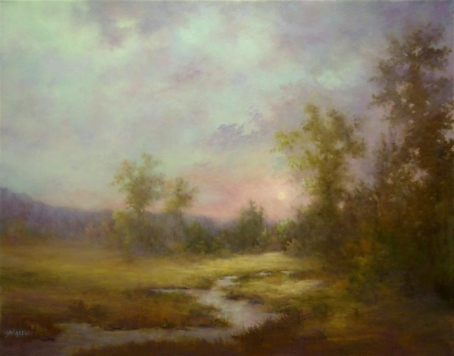 Discover Original Art by Gail Greene | Moonlight Mist oil painting | Art for Sale Online at UGallery