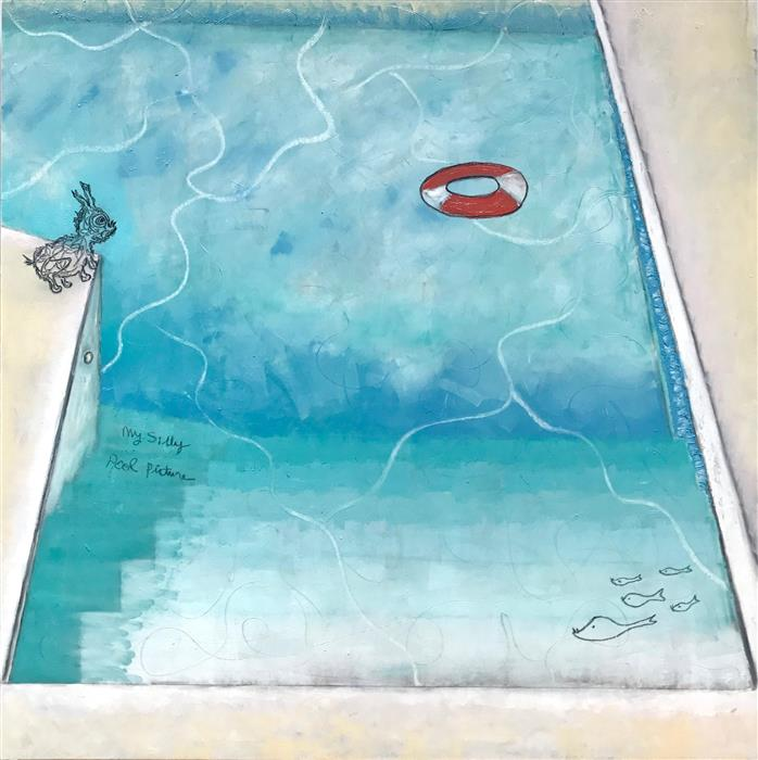 Discover Original Art by Leslie Morgan | My Silly Pool Picture mixed media artwork | Art for Sale Online at UGallery