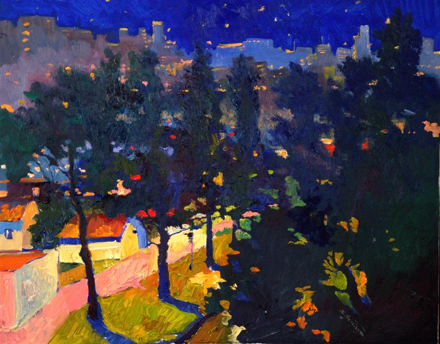 Discover Original Art by Suren Nersisyan | Night in the Park oil painting | Art for Sale Online at UGallery