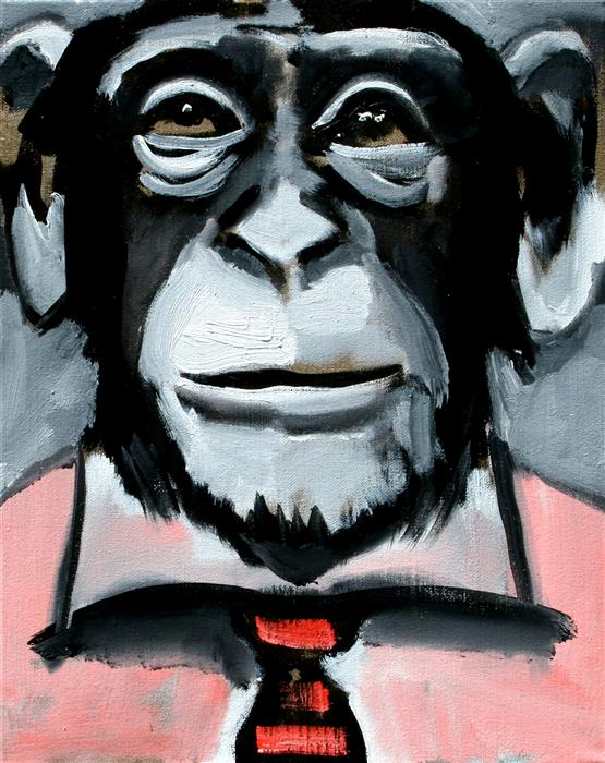 Discover Original Art by Scott Dykema | Pink Shirt Red Tie Chimp mixed media artwork | Art for Sale Online at UGallery