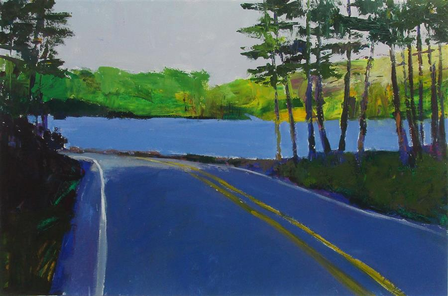 Discover Original Art by Janet Dyer | Road by Lake Tiorati, New York acrylic painting | Art for Sale Online at UGallery