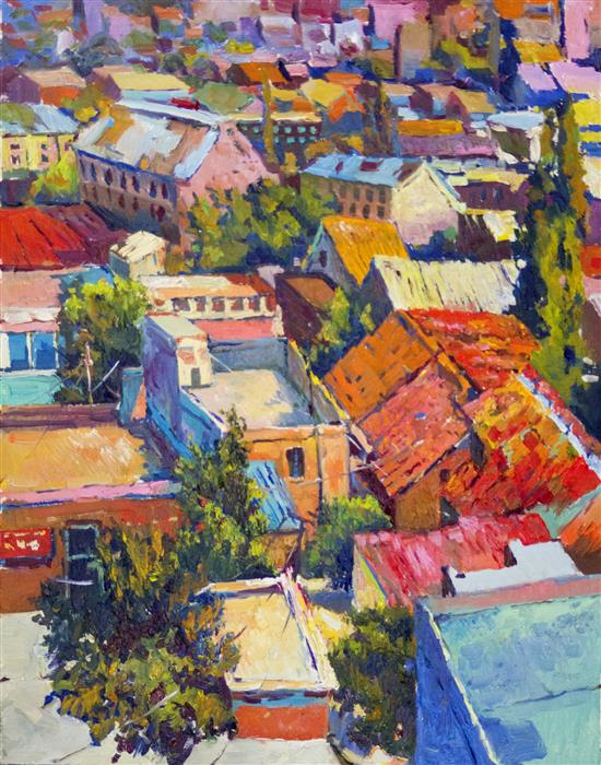 Discover Original Art by Suren Nersisyan | Roofs of Forgotten Town oil painting | Art for Sale Online at UGallery