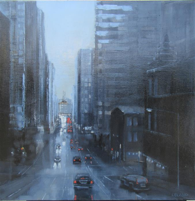 Discover Original Art by Jim Leland | California Street in Blue oil painting | Art for Sale Online at UGallery