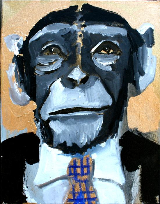 Discover Original Art by Scott Dykema | A Checkered Tie Chimp mixed media artwork | Art for Sale Online at UGallery