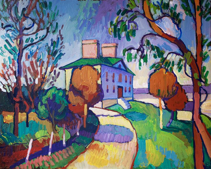 Discover Original Art by Robert Hofherr | Mansion by a River acrylic painting | Art for Sale Online at UGallery