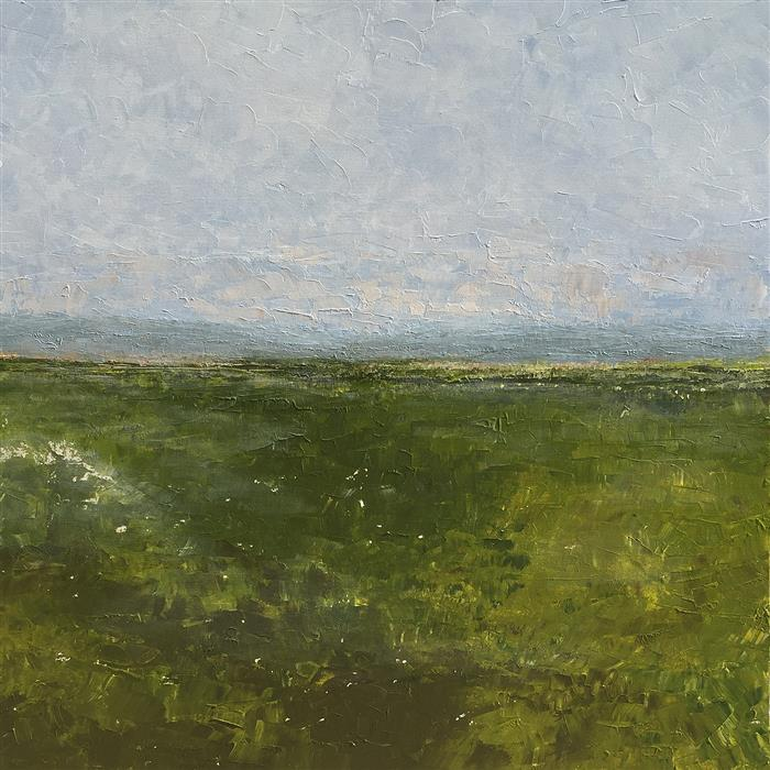 Discover Original Art by Ruth LaGue | Brownington, Vermont - Mist on Field acrylic painting | Art for Sale Online at UGallery