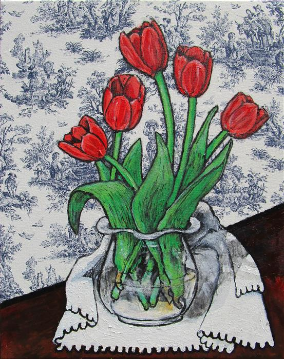 Discover Original Art by Greg Angelone | Red Tulips acrylic painting | Art for Sale Online at UGallery