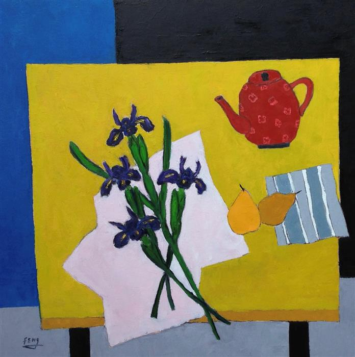 Discover Original Art by Feng Biddle | Iris on Yellow Table oil painting | Art for Sale Online at UGallery