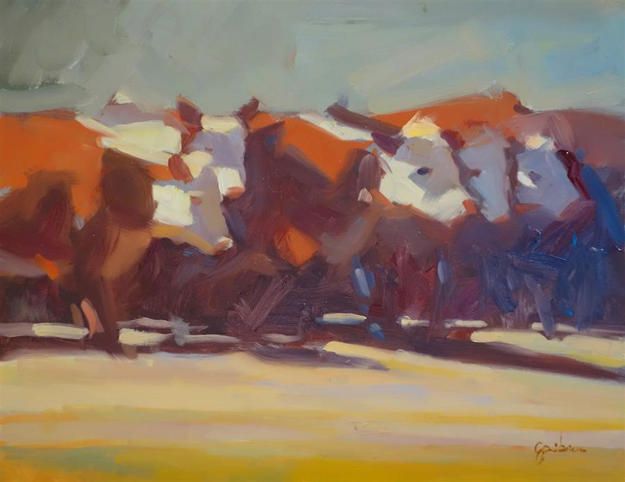 Discover Original Art by George Scribner | Cow Party oil painting | Art for Sale Online at UGallery