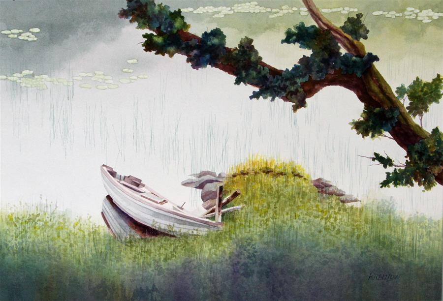 Discover Original Art by Bill Kreitlow | The Branch and the Listing Rowboat watercolor painting | Art for Sale Online at UGallery