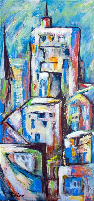 Discover Original Art by Sharon Sieben | Sky Scrapers III acrylic painting | Art for Sale Online at UGallery