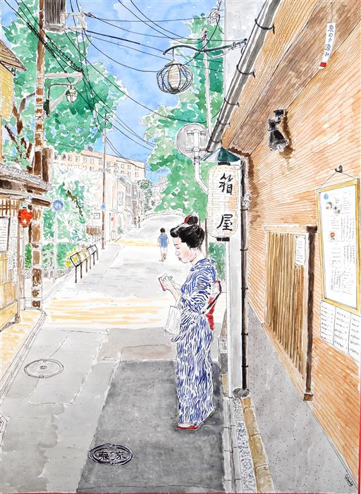 Discover Original Art by Orlando Marin-Lopez | Kimono on a Quiet Street watercolor painting | Art for Sale Online at UGallery