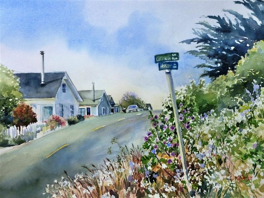 Discover Original Art by Catherine McCargar | Coastal Cottages watercolor painting | Art for Sale Online at UGallery