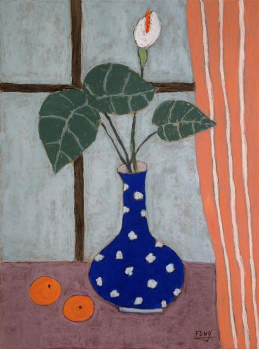 Discover Original Art by Feng Biddle | Two Oranges and Blue Vase pastel artwork | Art for Sale Online at UGallery