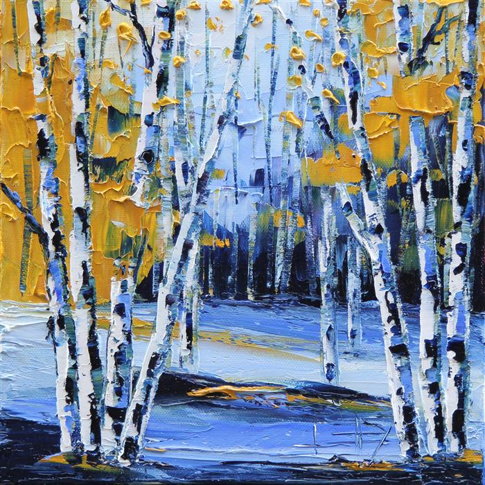 Discover Original Art by Lisa Elley | Birches in Blue oil painting | Art for Sale Online at UGallery