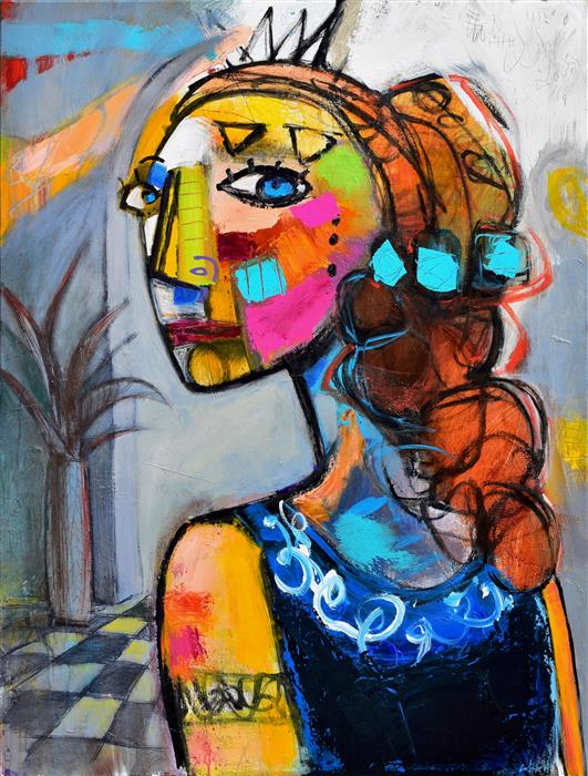 Discover Original Art by Allen Wittert | Woman Walking into Room acrylic painting | Art for Sale Online at UGallery