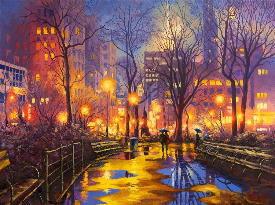 Discover Original Art by Stanislav Sidorov | Twilight in the City, Central Park oil painting | Art for Sale Online at UGallery