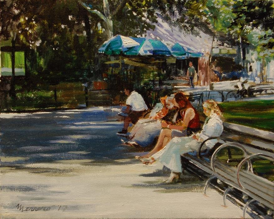 Discover Original Art by Onelio Marrero | Breaktime in Central Park oil painting | Art for Sale Online at UGallery