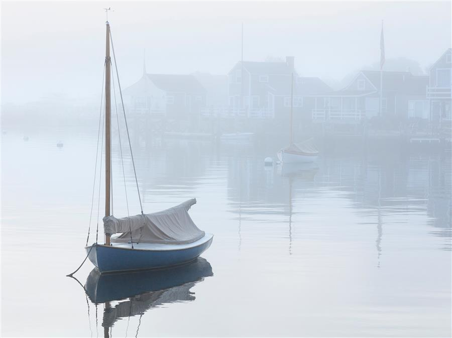 Discover Original Art by Katherine Gendreau | Foggy Dawn on Nantucket Harbor photography | Art for Sale Online at UGallery
