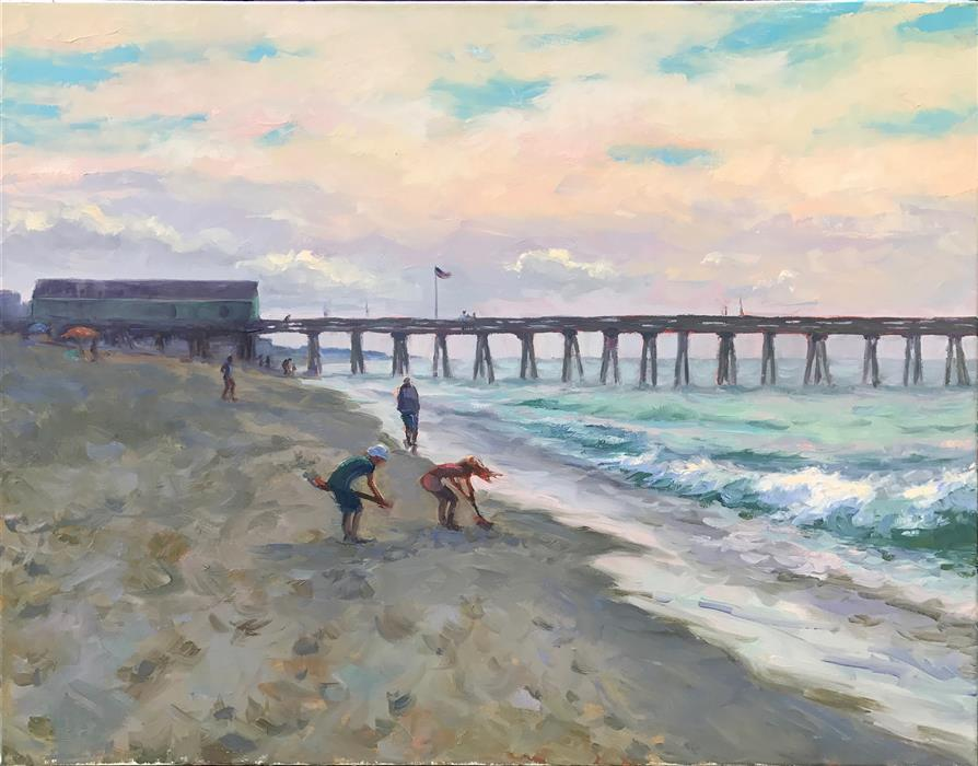 Discover Original Art by Jennifer Young | Treasure Hunting at Avalon Pier oil painting | Art for Sale Online at UGallery