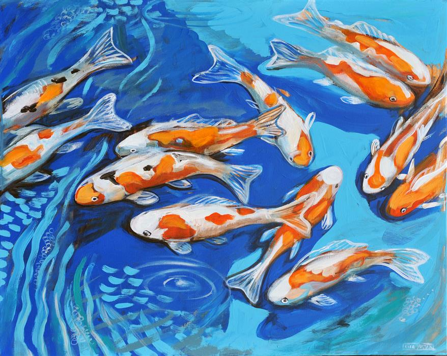 Discover Original Art by Kira Yustak | Koi Pond acrylic painting | Art for Sale Online at UGallery