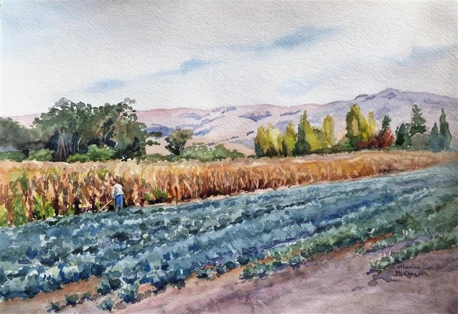 Discover Original Art by Catherine McCargar | Silver and Gold at Ardenwood watercolor painting | Art for Sale Online at UGallery