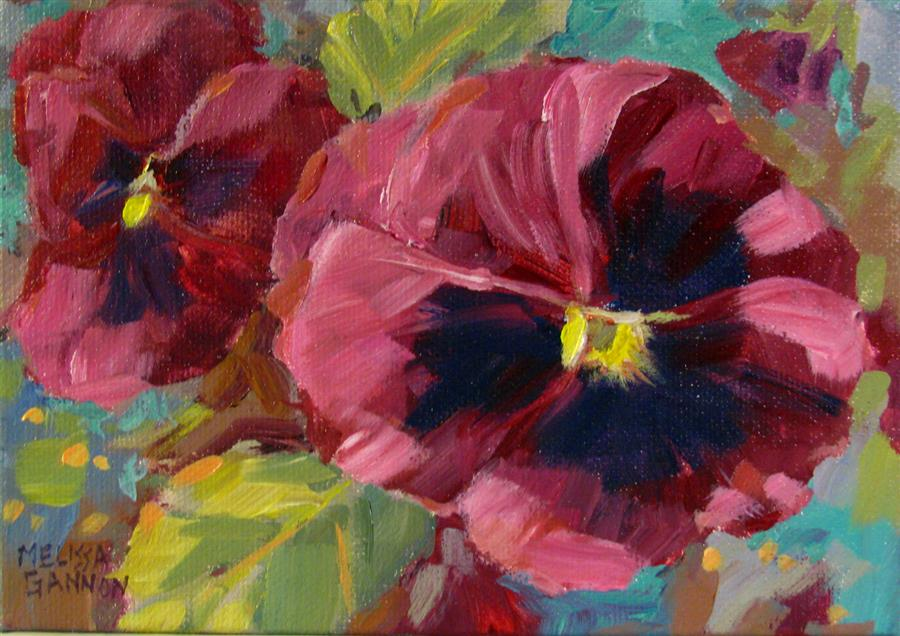 Discover Original Art by Melissa Gannon | Reds & Greens & Pansies acrylic painting | Art for Sale Online at UGallery