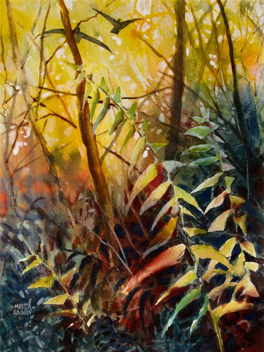 Discover Original Art by Melissa Gannon | Woodland Ferns mixed media artwork | Art for Sale Online at UGallery
