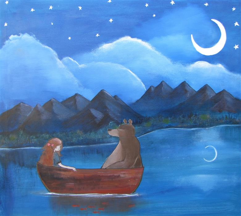 Discover Original Art by Andrea Doss | The Moonlit Lake acrylic painting | Art for Sale Online at UGallery