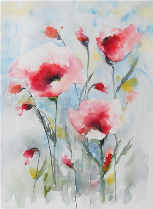 Discover Original Art by Karin Johannesson | Dreamy Poppies VI watercolor painting | Art for Sale Online at UGallery
