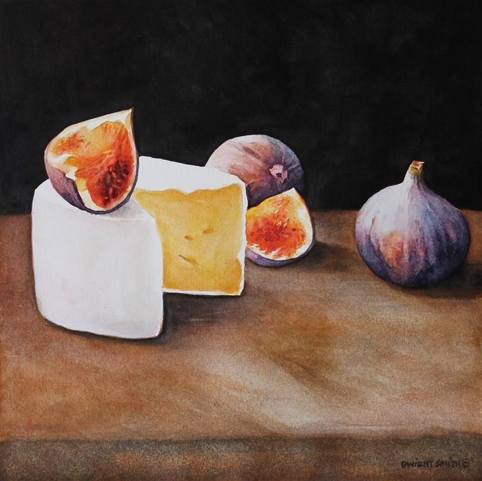 Discover Original Art by Dwight Smith | Fresh Figs with Brie watercolor painting | Art for Sale Online at UGallery