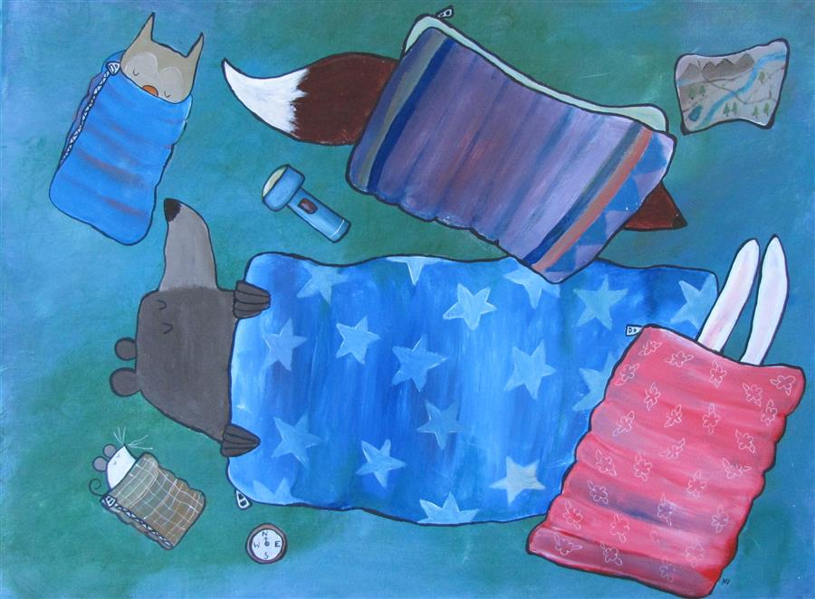 Discover Original Art by Andrea Doss | Sleeping Bag Party acrylic painting | Art for Sale Online at UGallery