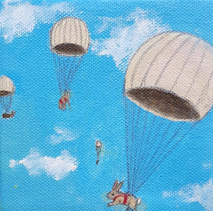 Discover Original Art by Kat Silver | Parachuting Bunnies 1 oil painting | Art for Sale Online at UGallery