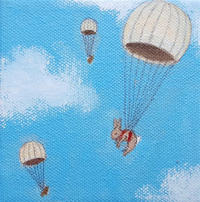 Discover Original Art by Kat Silver | Parachuting Bunnies 2 oil painting | Art for Sale Online at UGallery